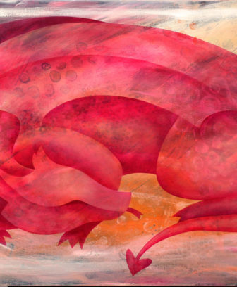 """Sleeping Dragon"", a peaceful painting of a pink dragon curled up asleep."