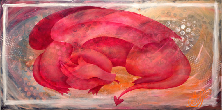 """""""Sleeping Dragon"""", a peaceful painting of a pink dragon curled up asleep."""